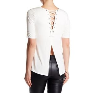 NWT Tart Naomie Lace-Up Tee White Backless XS